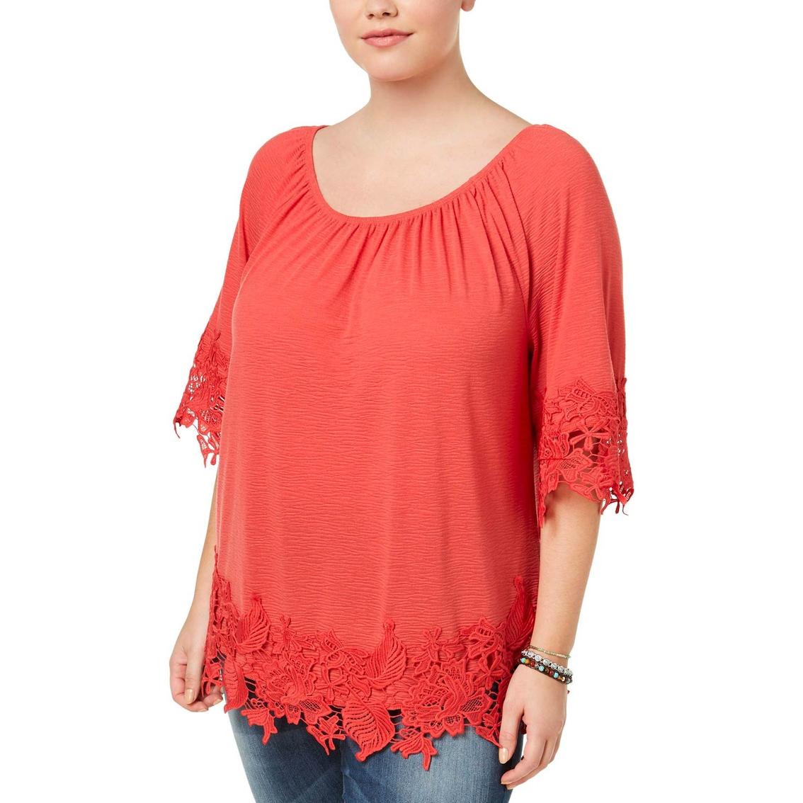 19b3a35b6c235 Style   Co. Plus Size Off The Shoulder Crochet Trim Top