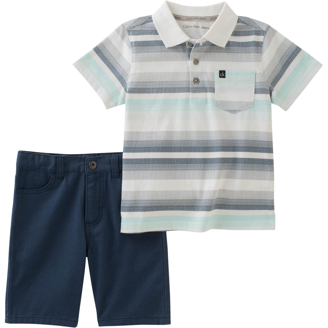 Calvin Klein Infant Boys 2 Pc Jersey Polo Shirt And