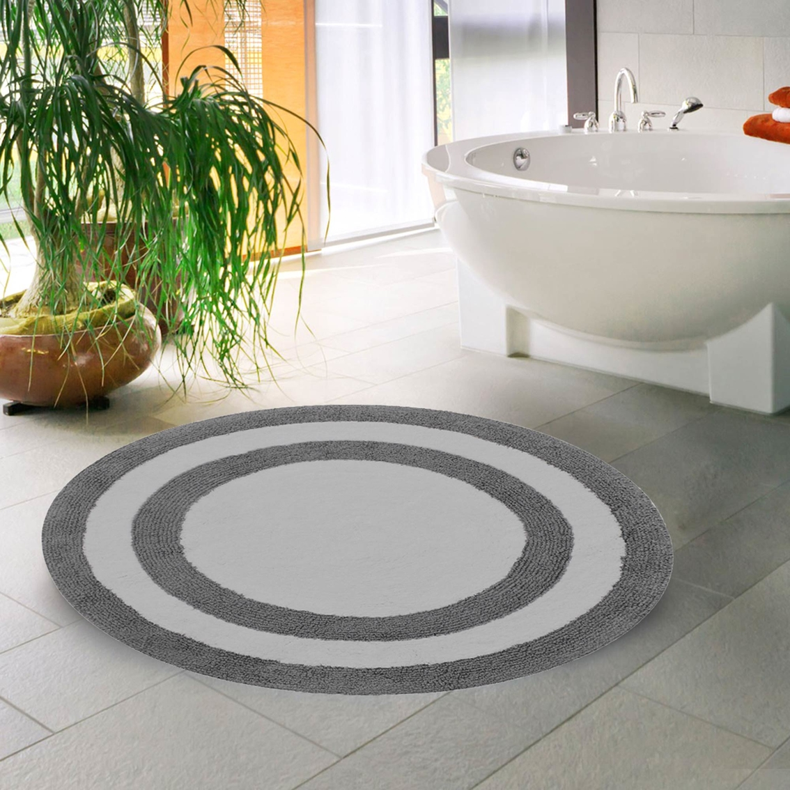 Saffron Fabs 36 In Round Reversible Cotton Bath Rug Bath