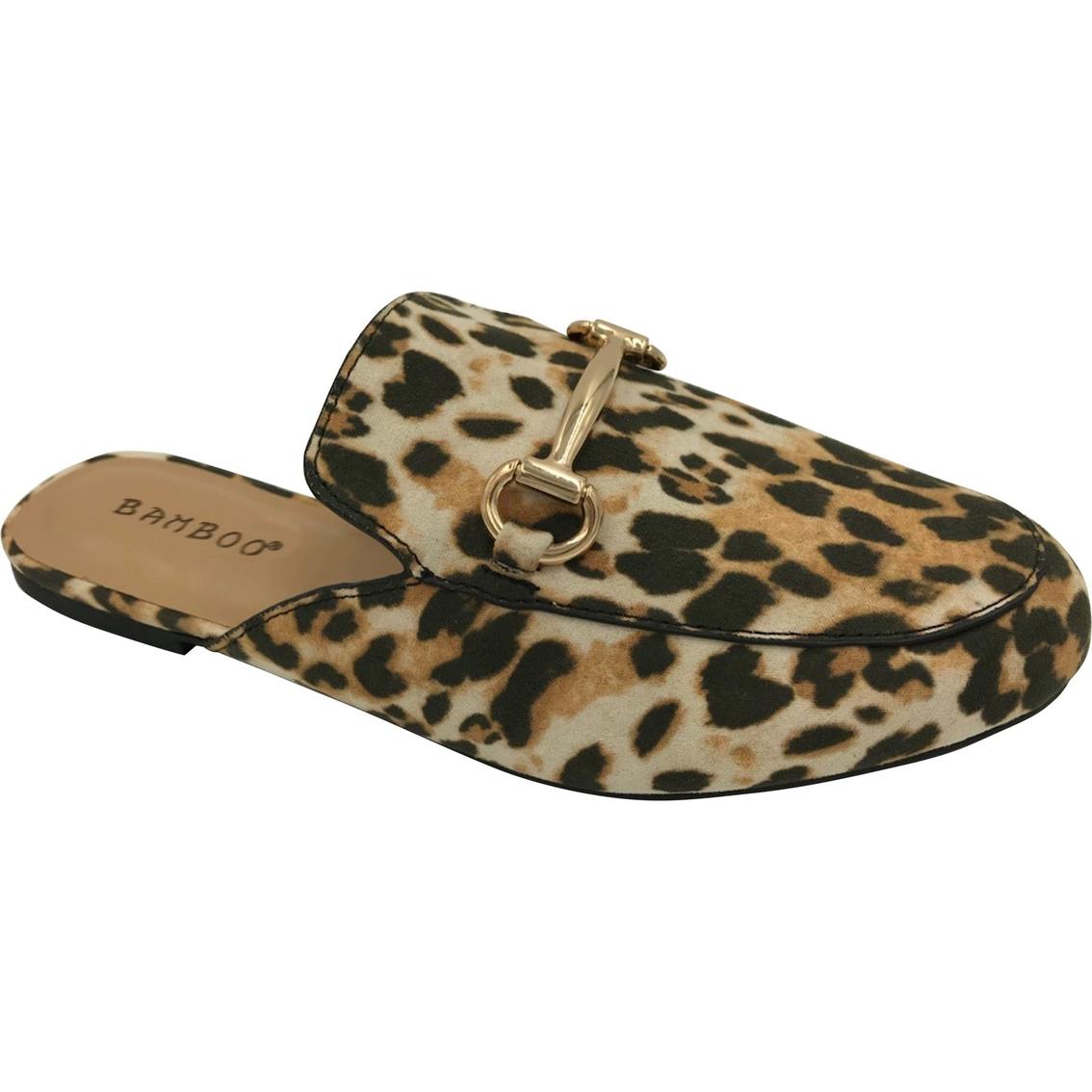 4d06ed1ae5 Bamboo Women's Leopard Print Flat Slide On Mule Shoes | Flats ...