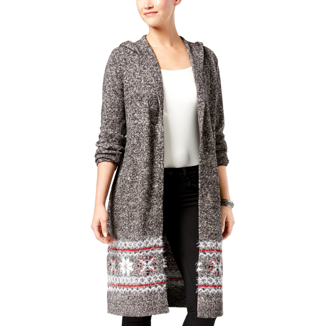 Style & Co Petite Hooded Printed Duster Cardigan | Sweaters ...