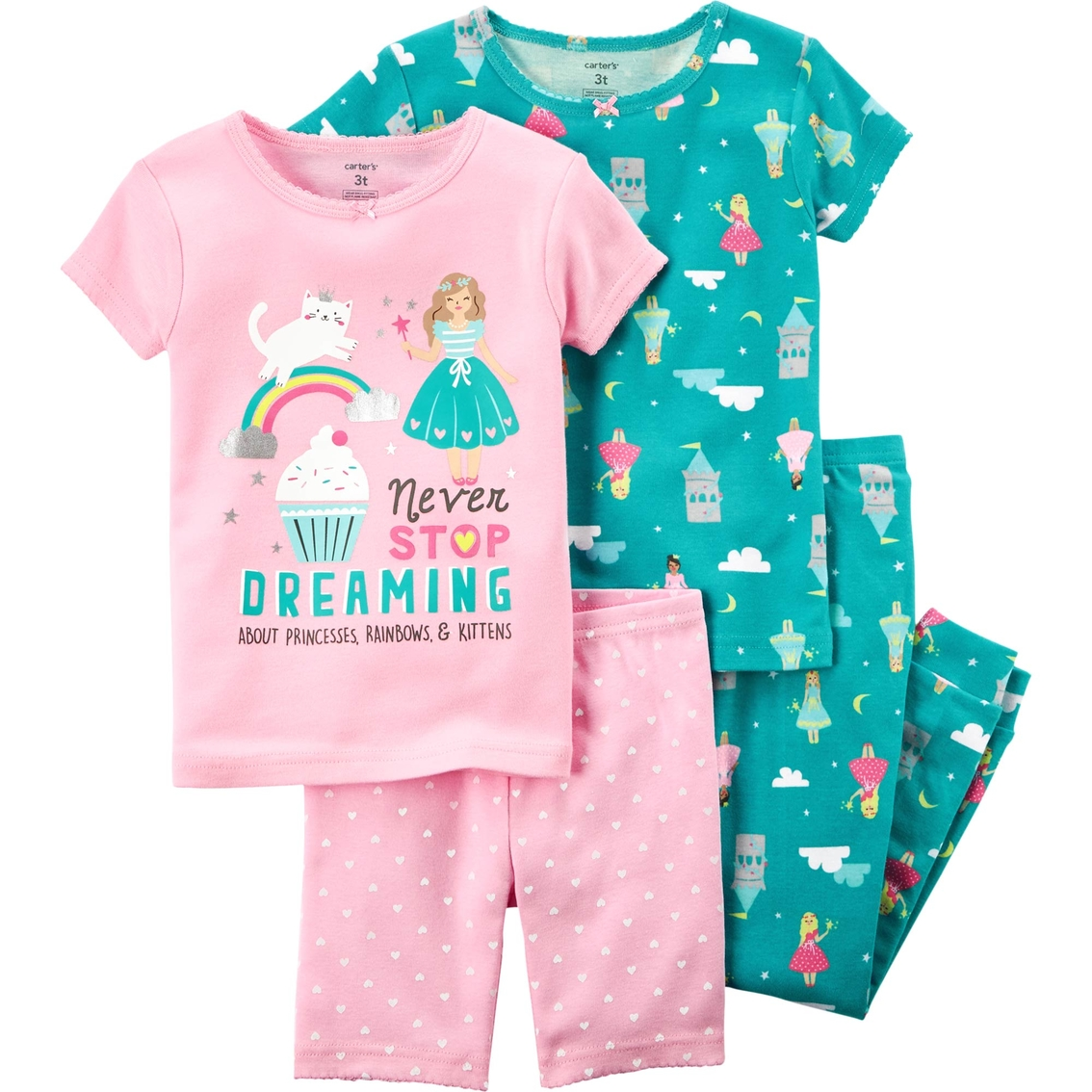6f6e1fe340 Carter s Little Girls Never Stop Dreaming 4 Pc. Snug Fit Pajama Set ...