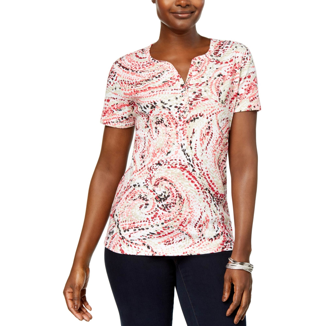 49f29aa2 Karen Scott Printed Henley Tee | T-shirts | Apparel | Shop The Exchange