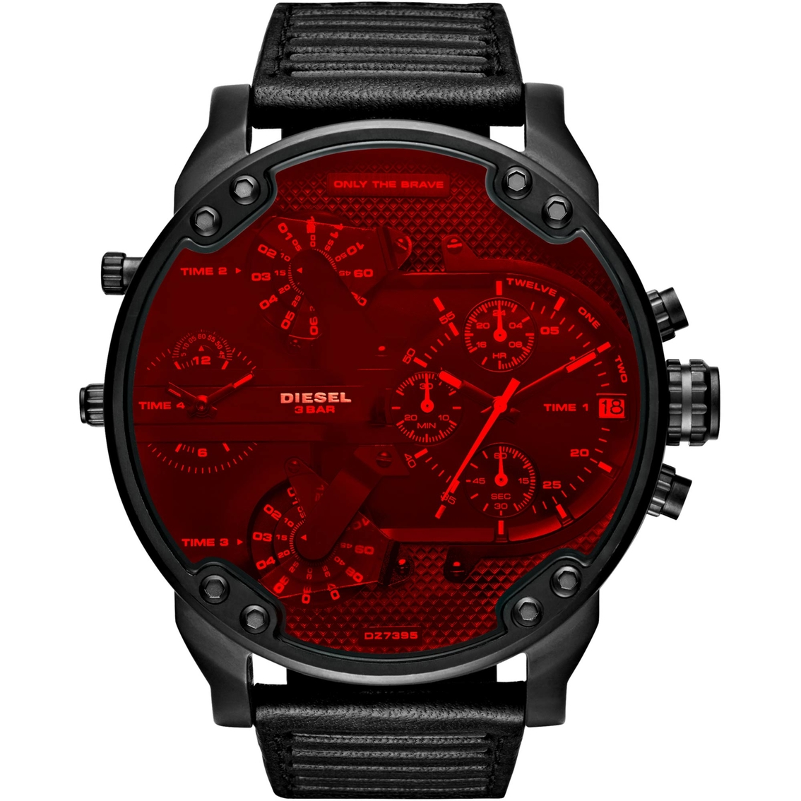 Diesel Men s Mr. Daddy 2.0 Black IP and Leather Multifunction Watch DZ7402 6bdfc200f9dd3