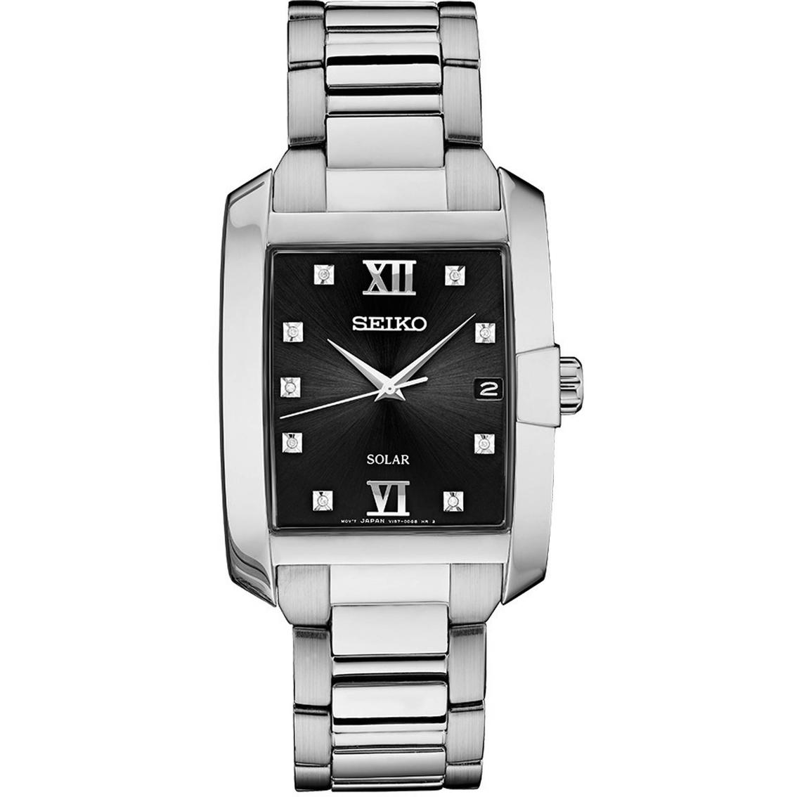 49affcdd95 Seiko Men s Core Diamond Accent Rectangular Case Solar Watch Sne46 ...