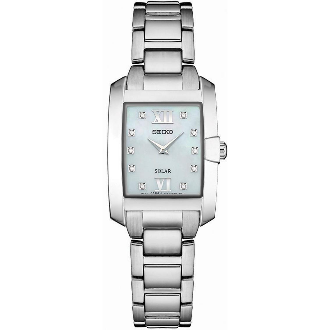 Seiko Women s Rectangular Diamond Accent Solar Watch 24mm Sup37 ... d6b9285bb
