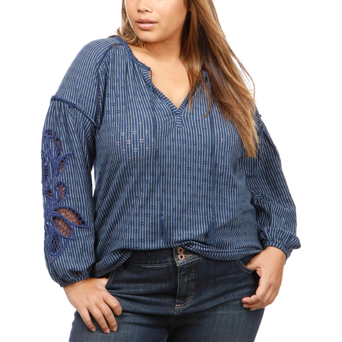 bb04e2cf458 Lucky Brand Plus Size Cutout Stripe Peasant