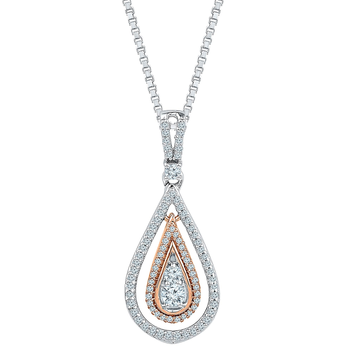 Sterling silver and 10k rose gold 12 ctw diamond pendant diamond sterling silver and 10k rose gold 12 ctw diamond pendant audiocablefo