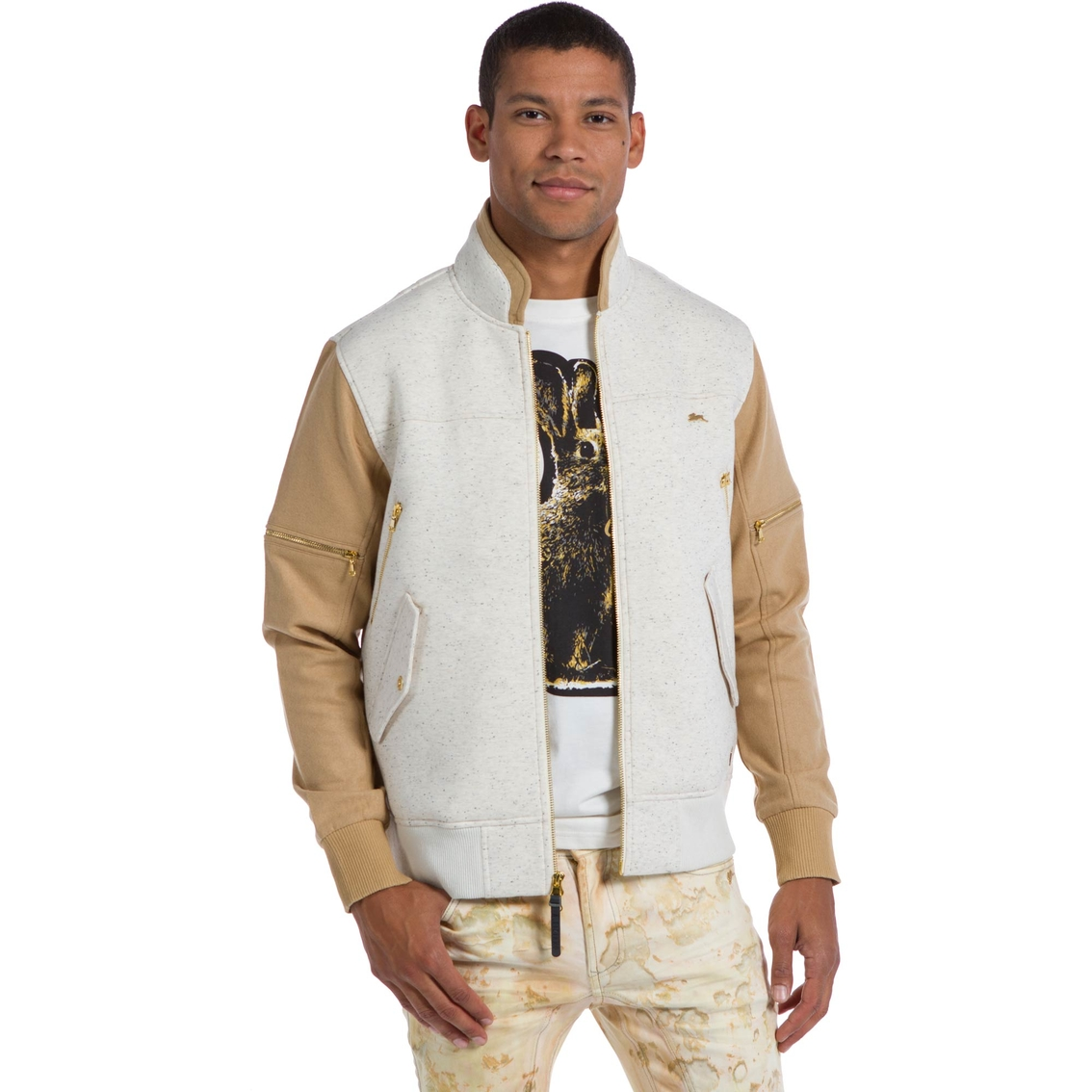 9625760a77f3c A.tiziano Jersey Neoprene Bonded Jersey And Wool Bomber Jacket ...