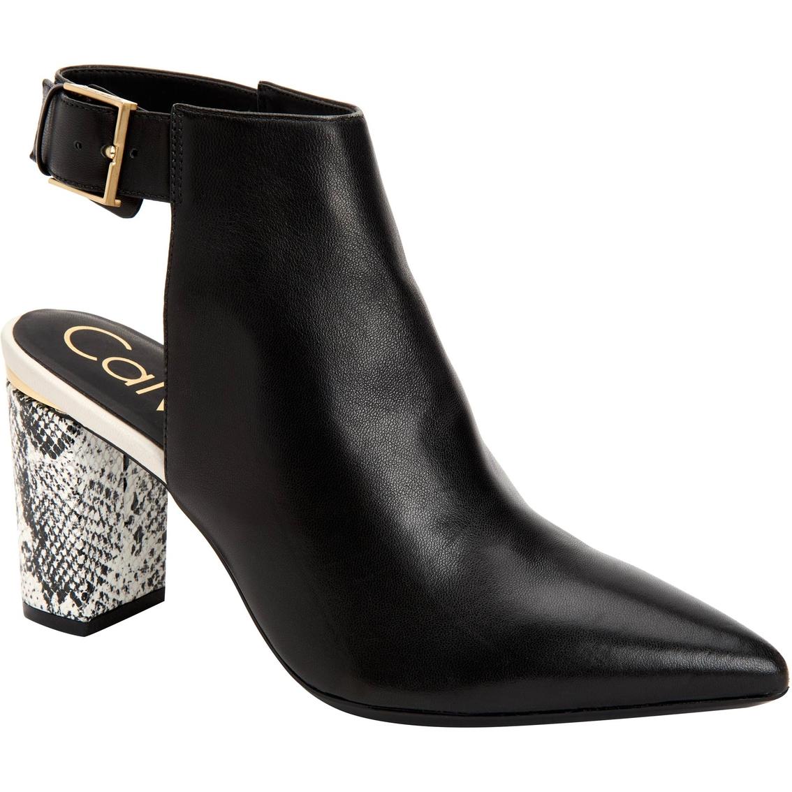 Calvin Klein Evenah Chunky Snake Print Heels With Buckle Calvin Klein Chunky Heels Shoes