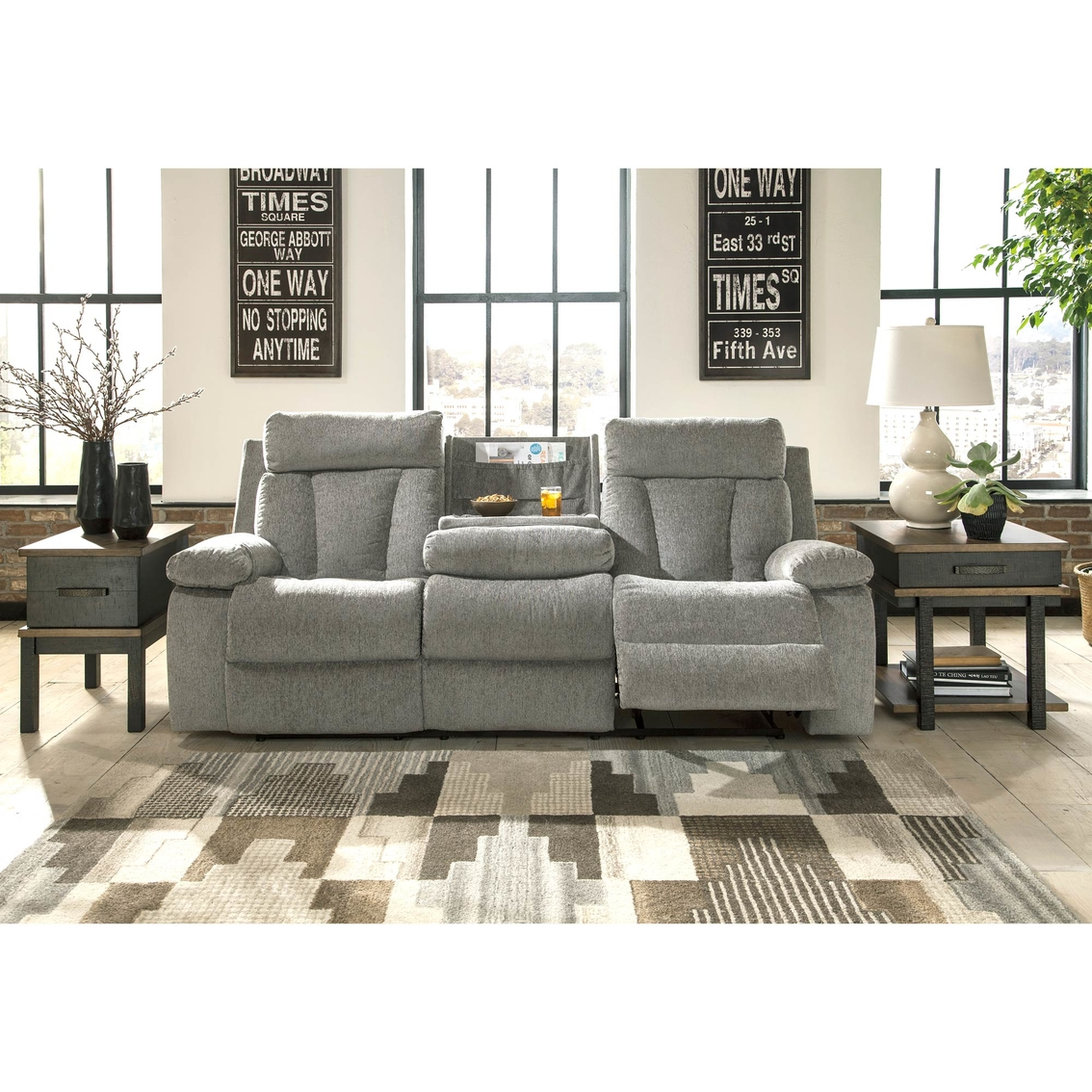 Living Room Furniture Ranges: Ashley Mitchiner Reclining Sofa With Drop Down Table