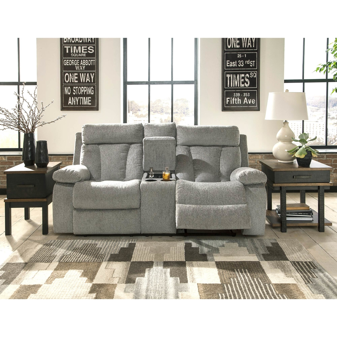 Ashley Mitchiner Reclining Loveseat With Storage Console
