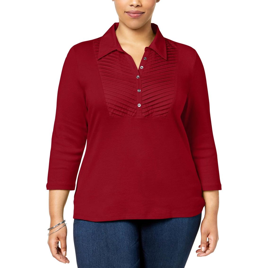 Karen Scott Plus Size Cotton Pleated Polo Top Blouses Tunics
