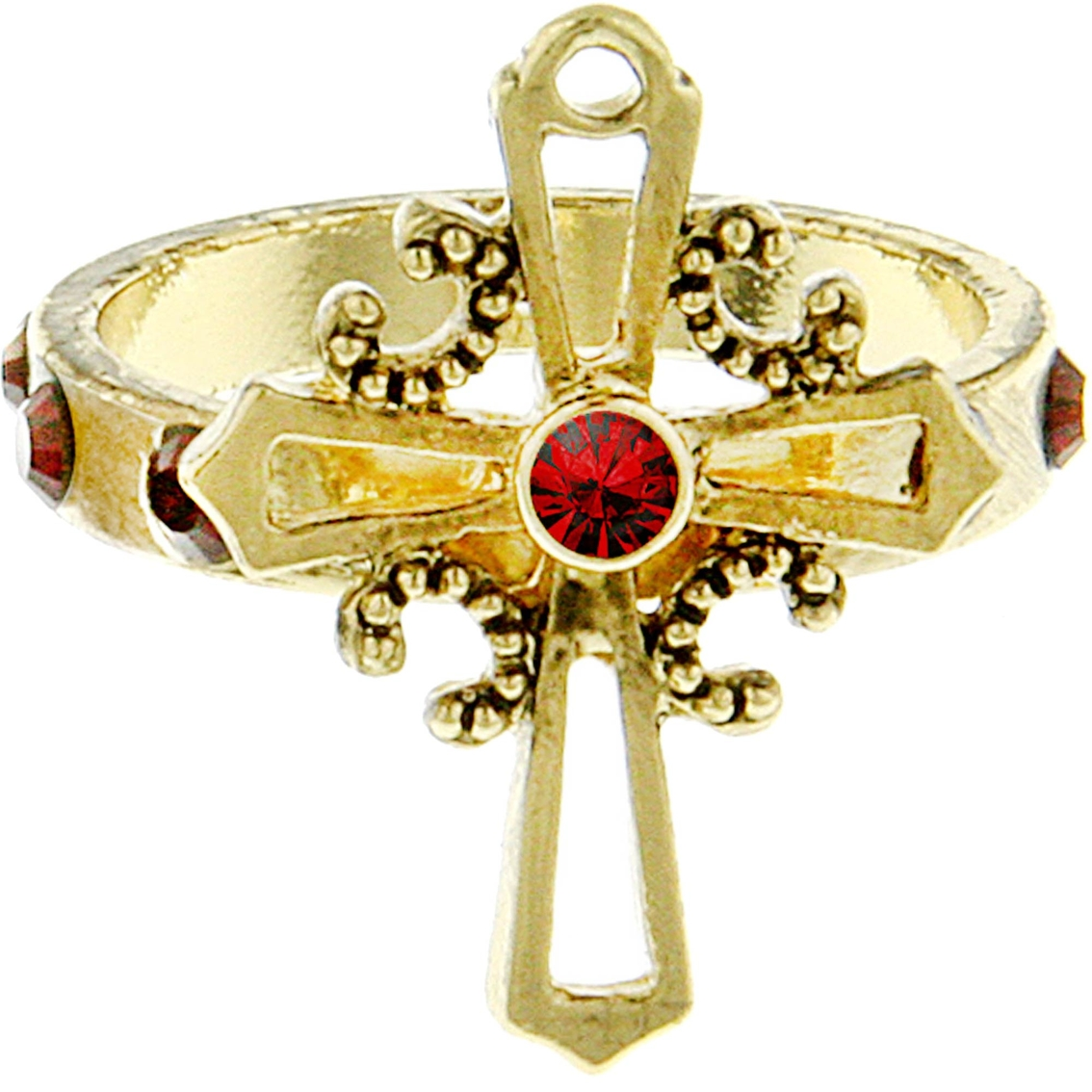 Symbols of faith goldtone red crystal cross ring fashion rings symbols of faith goldtone red crystal cross ring biocorpaavc Images
