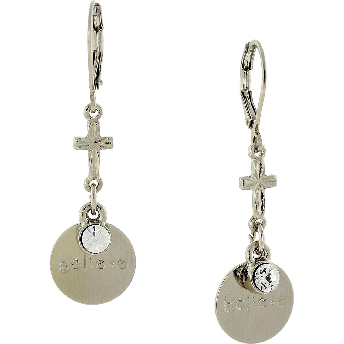 Symbols of faith silvertone round believe disk with cross earrings symbols of faith silvertone round believe disk with cross earrings buycottarizona