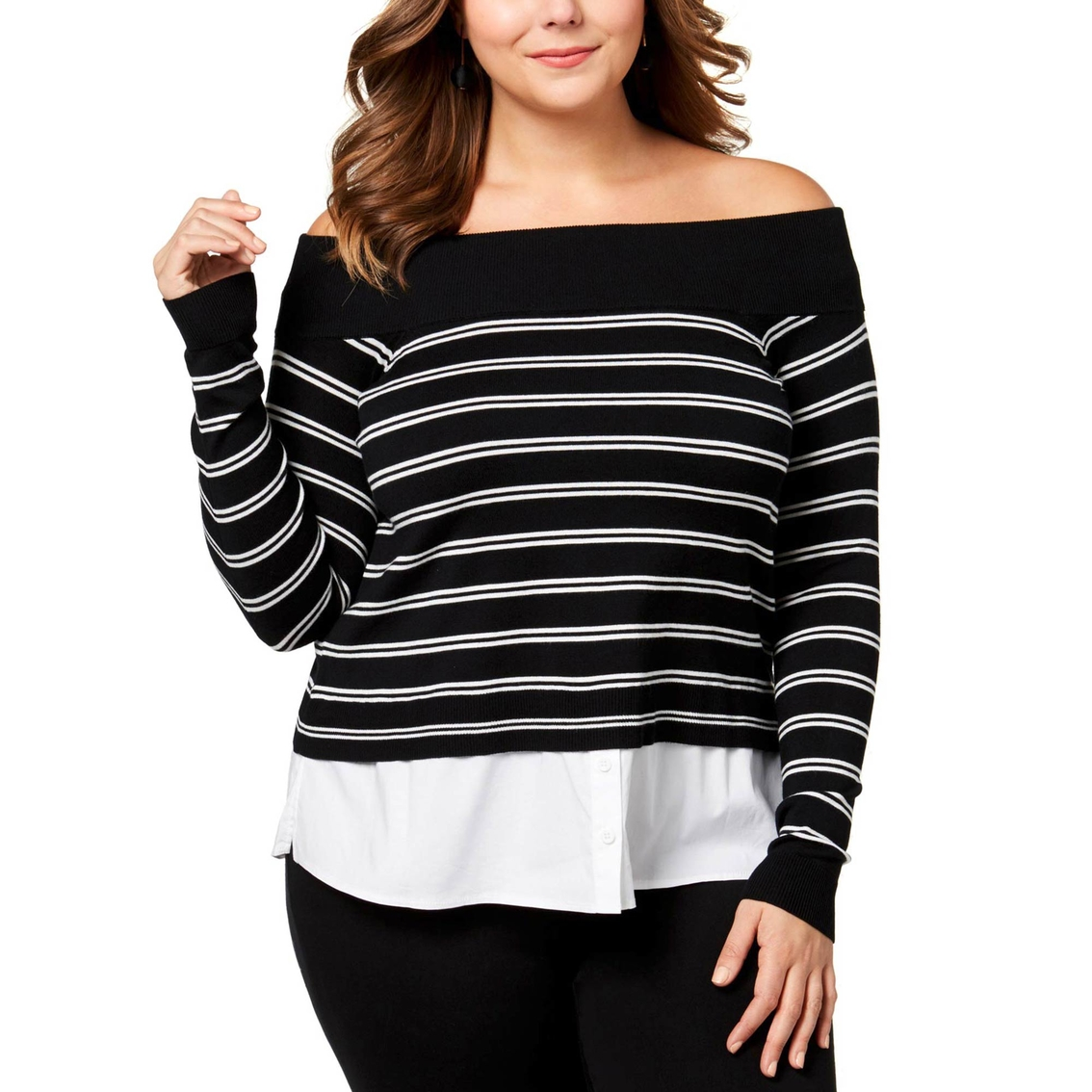 b60aebd1e6b INC International Concepts Plus Size Layered Look Off the Shoulder Sweater