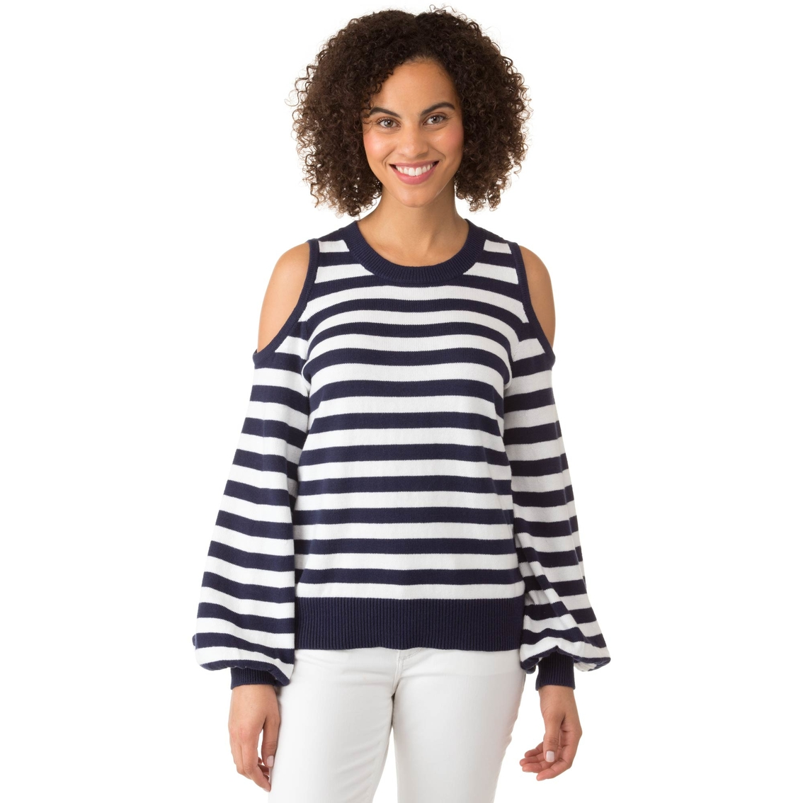 637bc6a548e04 Michael Kors Petite Stripe Cold Shoulder Sweater