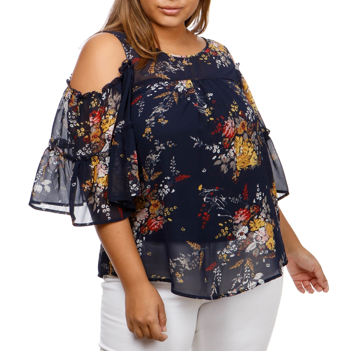 d6a4e7a98a4ef9 Lucky Brand Plus Size Printed Cold Shoulder Top