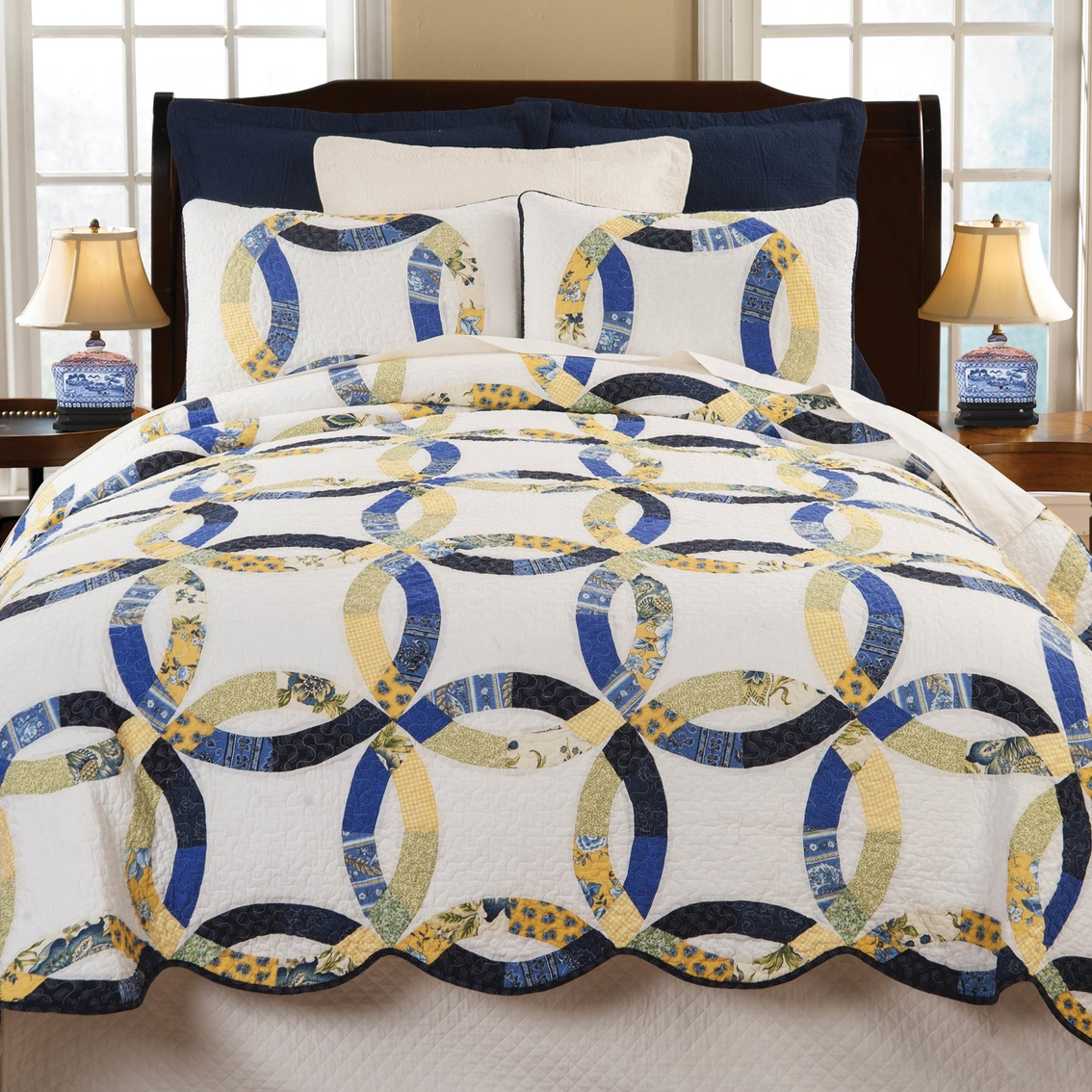C Amp F Home Provence Wedding Ring 3 Pc Reversible Quilt Set