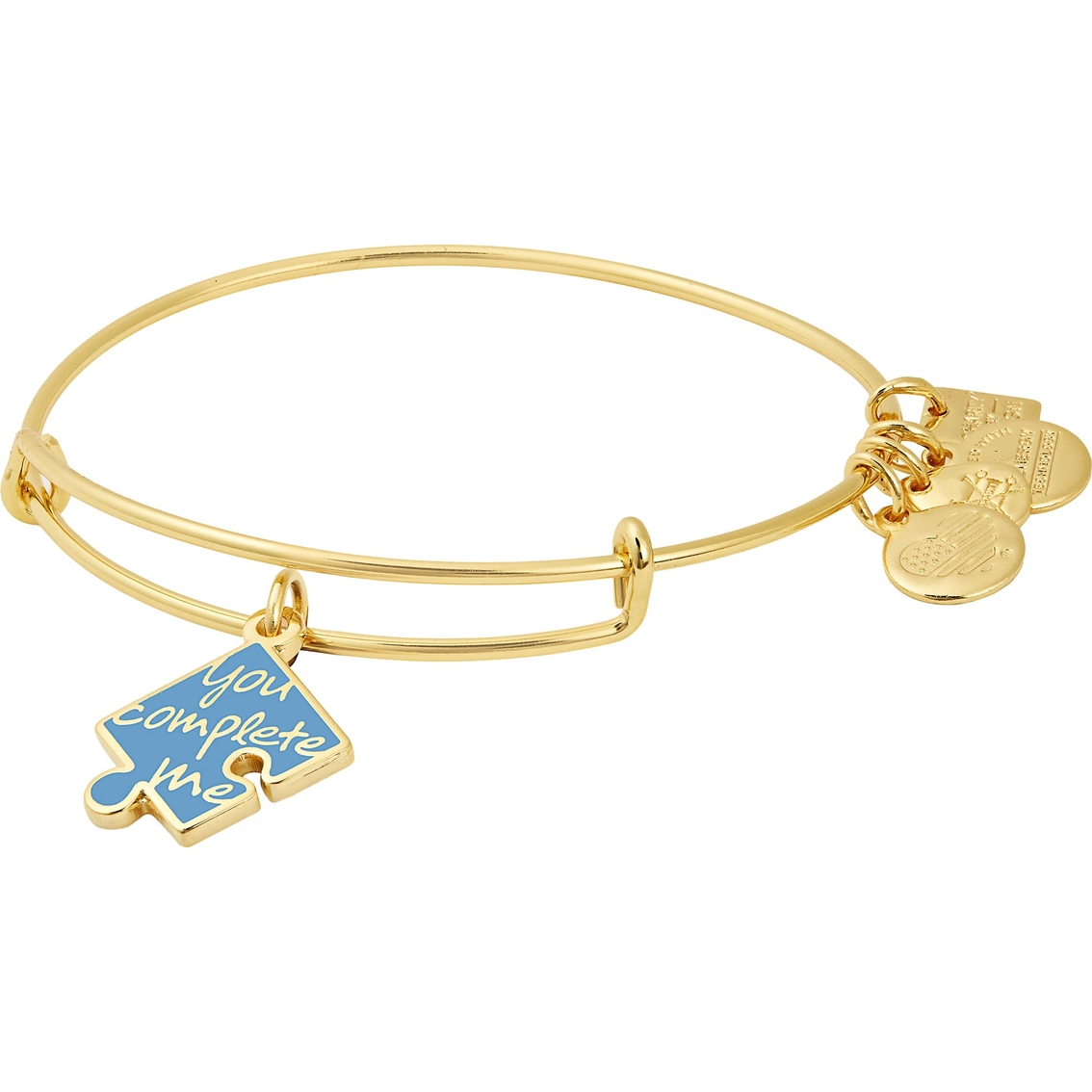 Initial Expandable Wire Bangle Bracelet with January Charm Gift Boxed