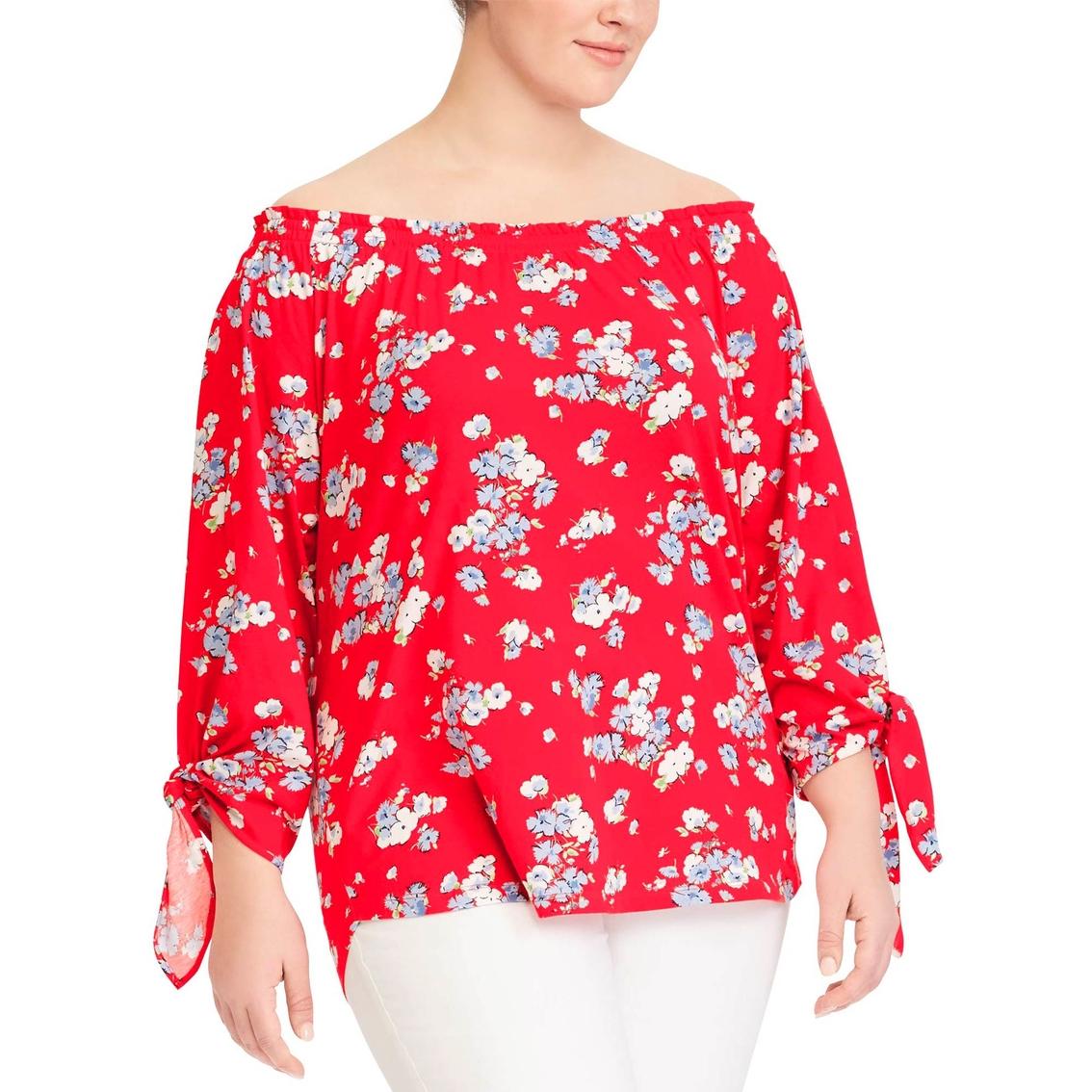 5f16a153422232 Lauren Ralph Lauren Plus Size Floral Jersey Off-the-shoulder Top ...
