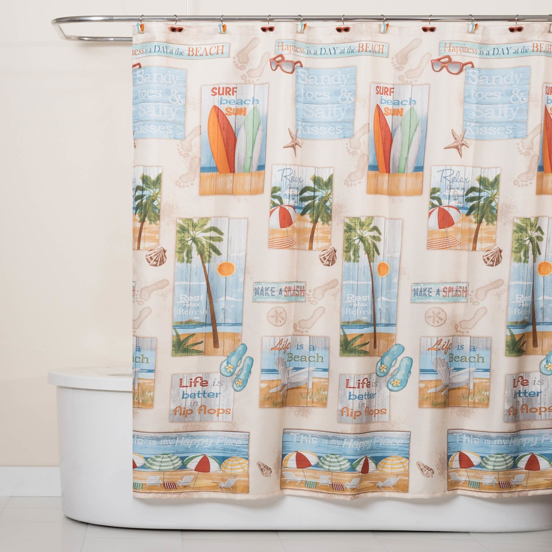 Saturday Knight Ltd Beach Time Shower Curtain Shower