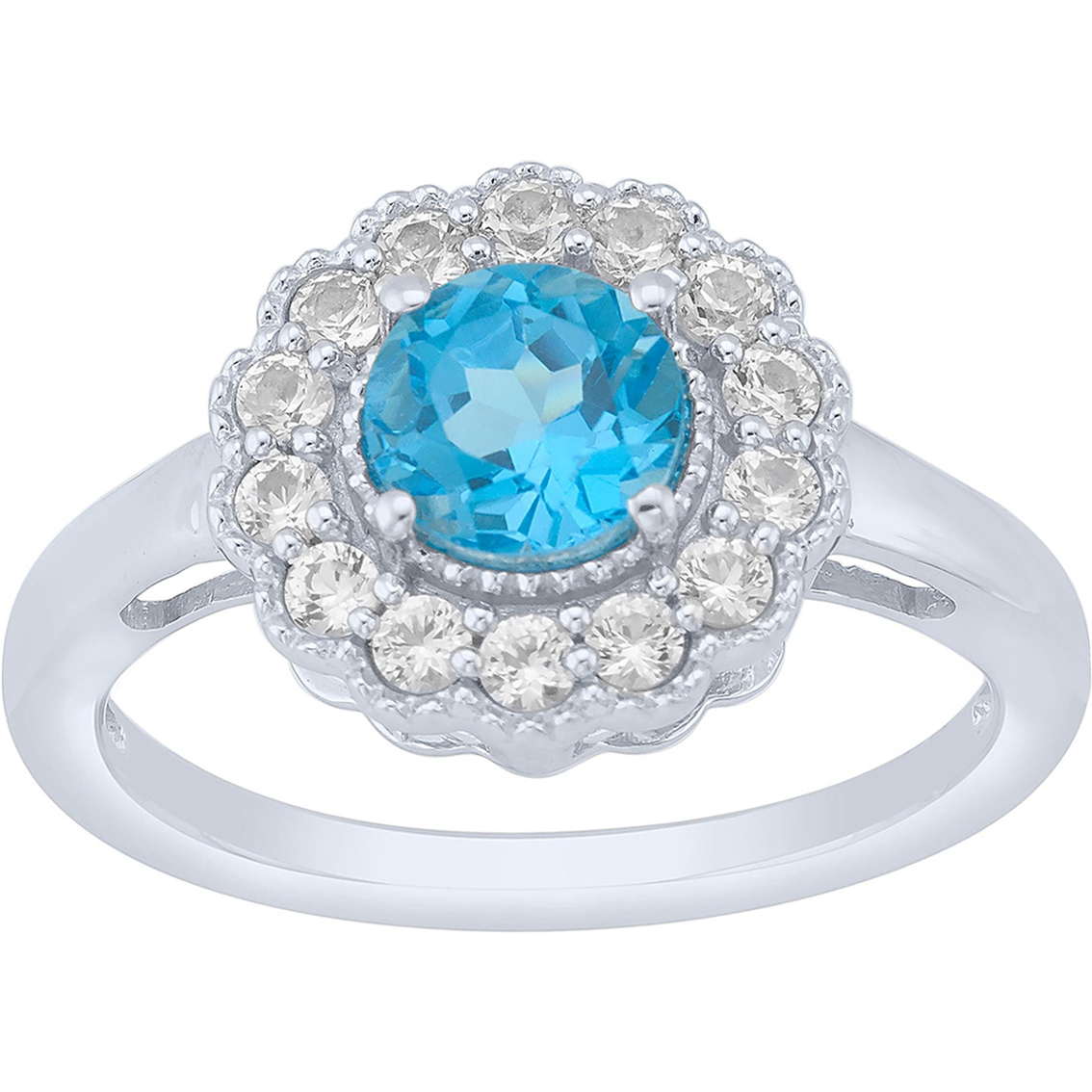 Pop Perfect Ring Diamontrigue Jewelry: Sterling Silver Swiss Blue Topaz And Lab Created White