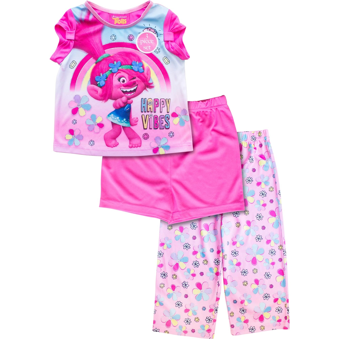 4 Childrens Apparel DreamWorks Little Girls Trolls Two-Piece Legging Set Gray//Multi