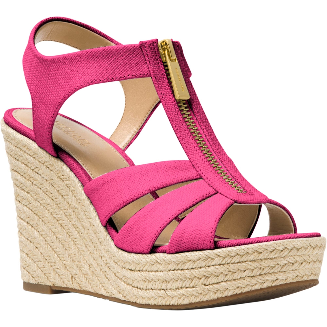 d07bf27f4f5 Michael Kors Zipper Weave Canvas Berkley Wedges