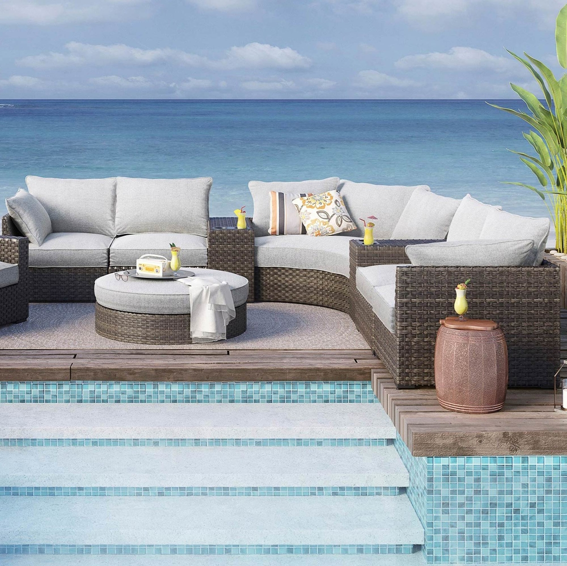 Genial Ashley Spring Dew 8 Pc. Curved Outdoor Sectional With Round Ottoman