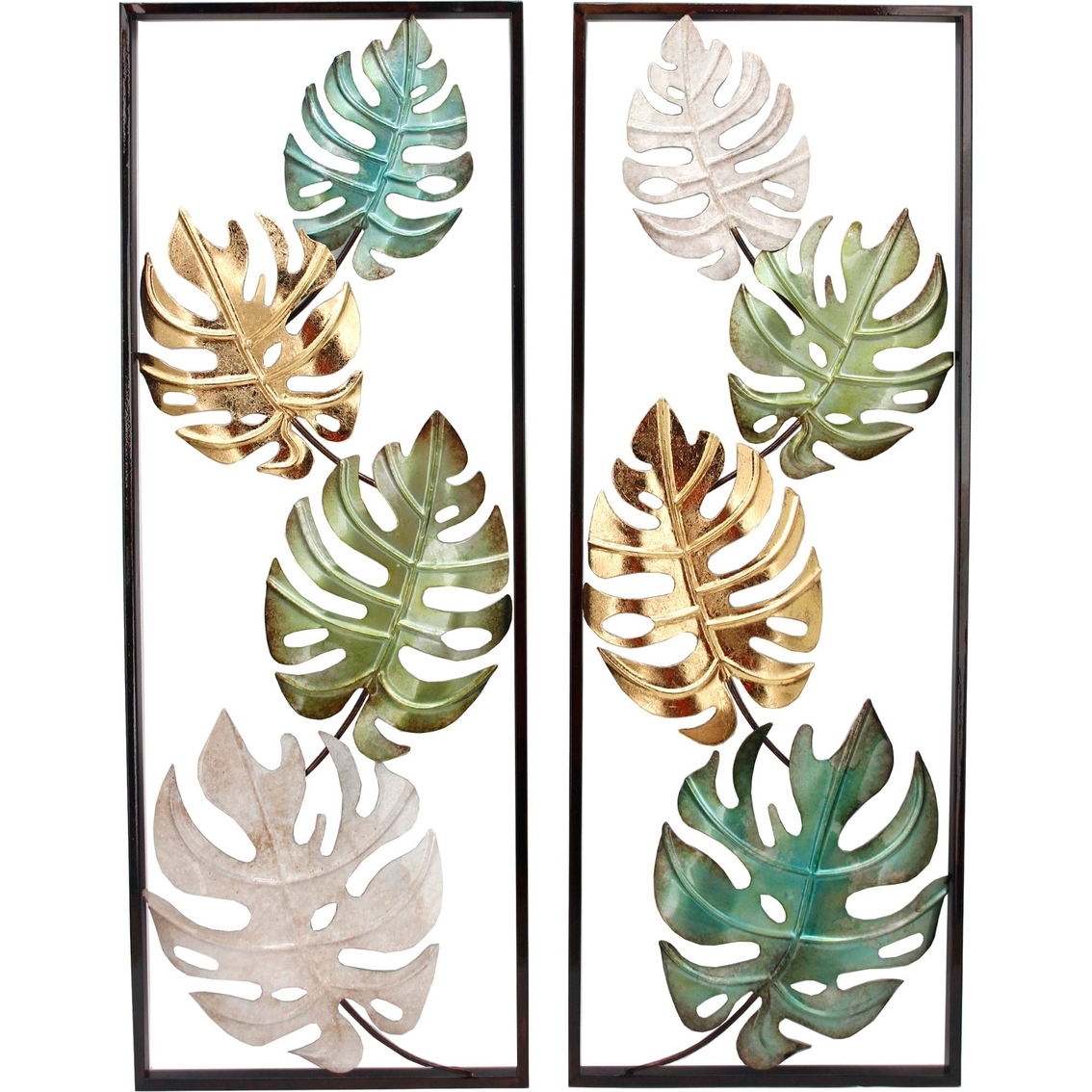 Simply Perfect Tropical Leaf 2 Pc Metal Wall Decor Metal