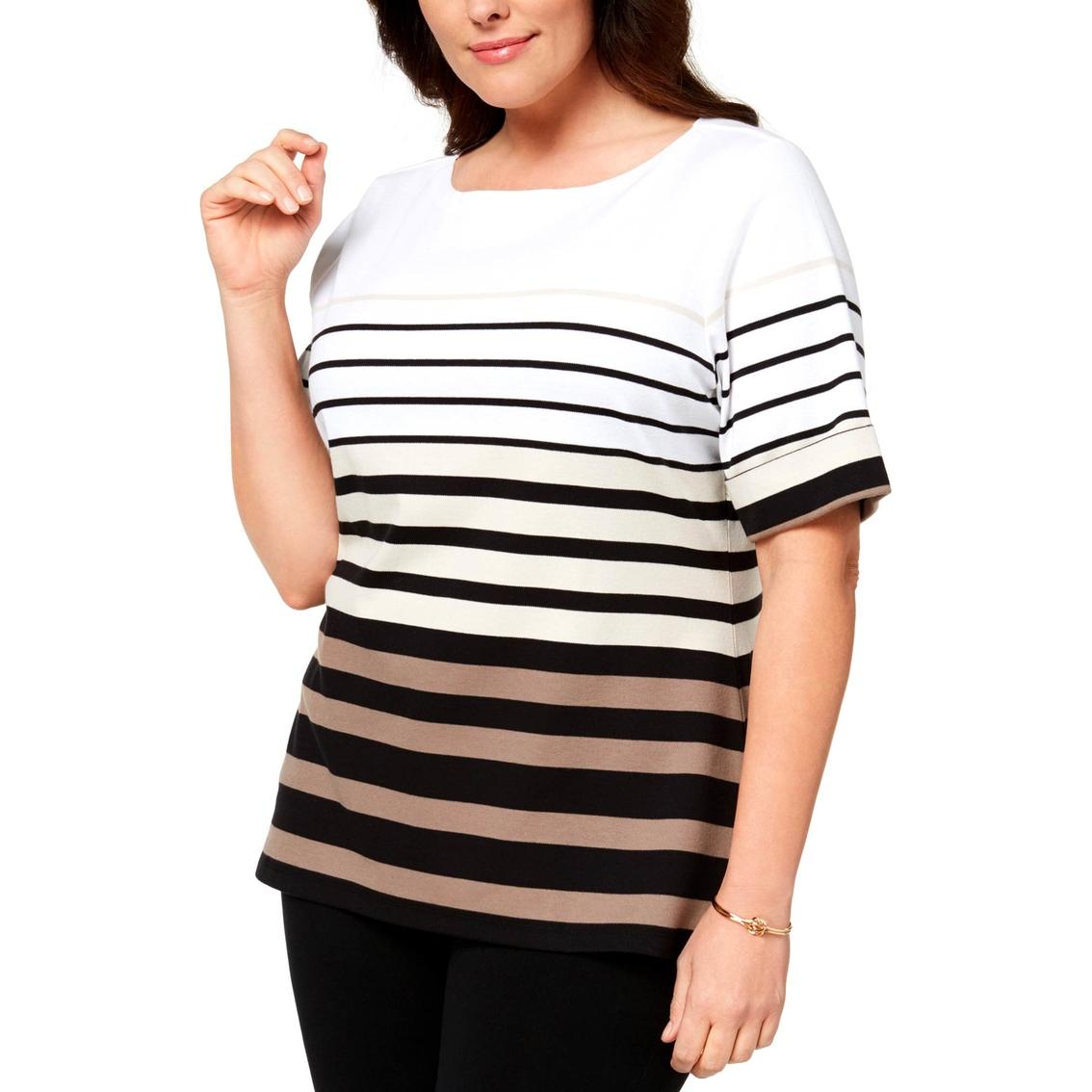 d78d429f Karen Scott Plus Size Cotton Striped T Shirt   T-shirts   Apparel ...