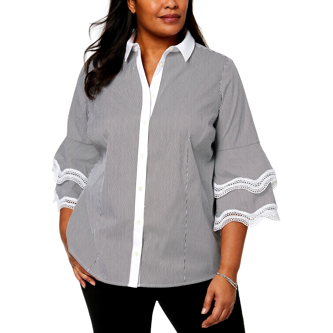 596a4128329 Charter Club Plus Size Tiered Sleeve Lace Trim Shirt