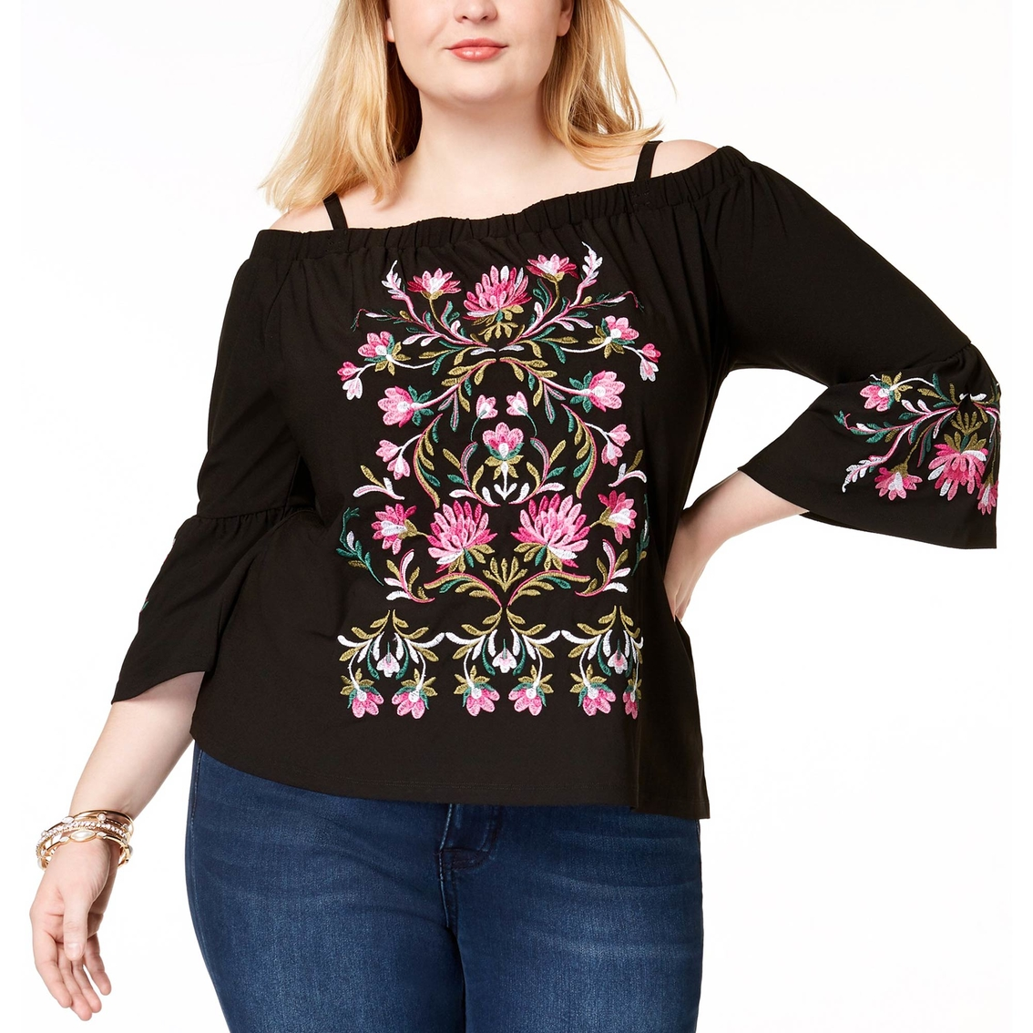 749f8d79e451d6 Inc International Concepts Plus Size Embroidered Off The Shoulder ...