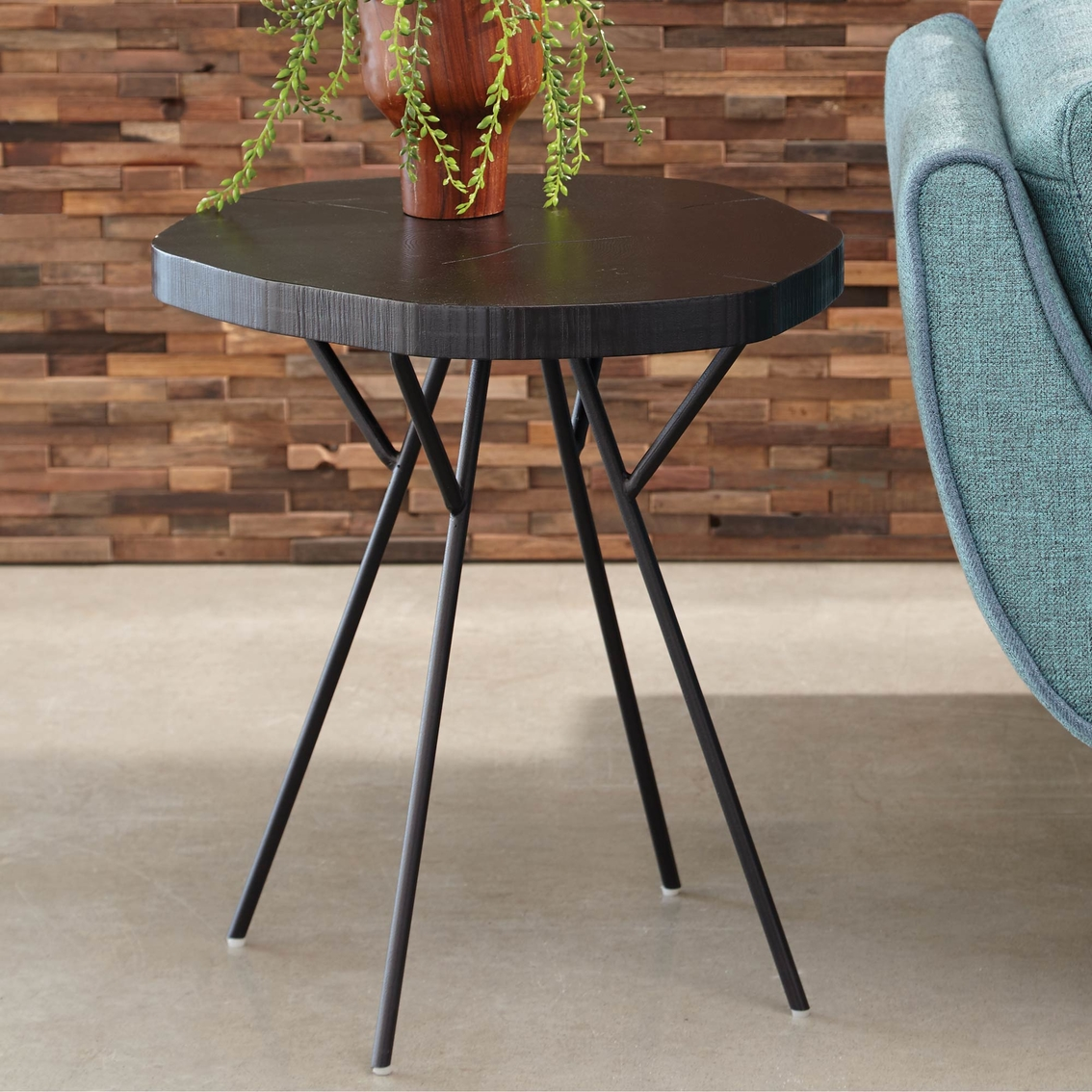 scott living tree trunk slab accent table with metal legs living room tables home. Black Bedroom Furniture Sets. Home Design Ideas