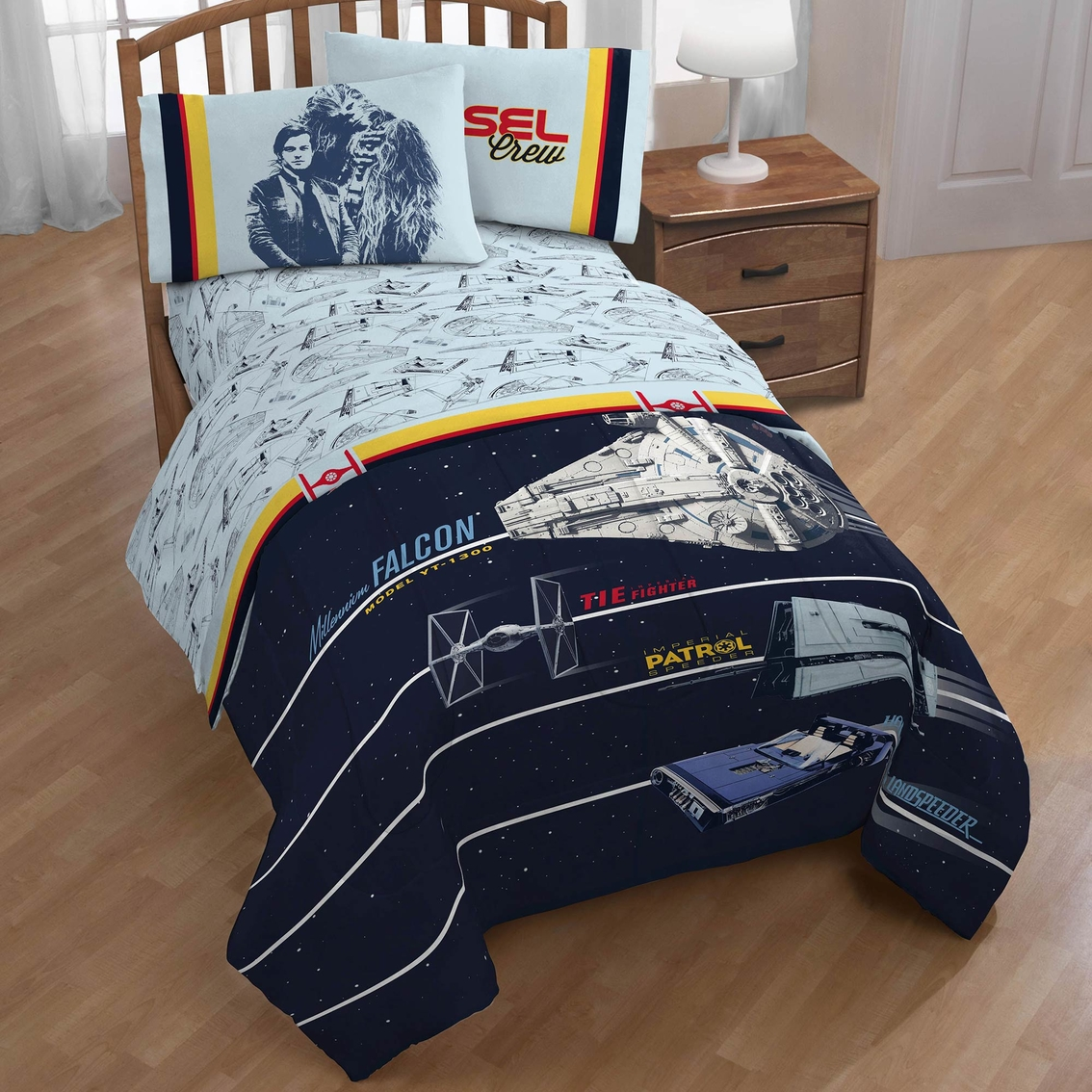 Jay Franco And Sons Star Wars Han Solo Vehicle Stripe Twin Sheet Set
