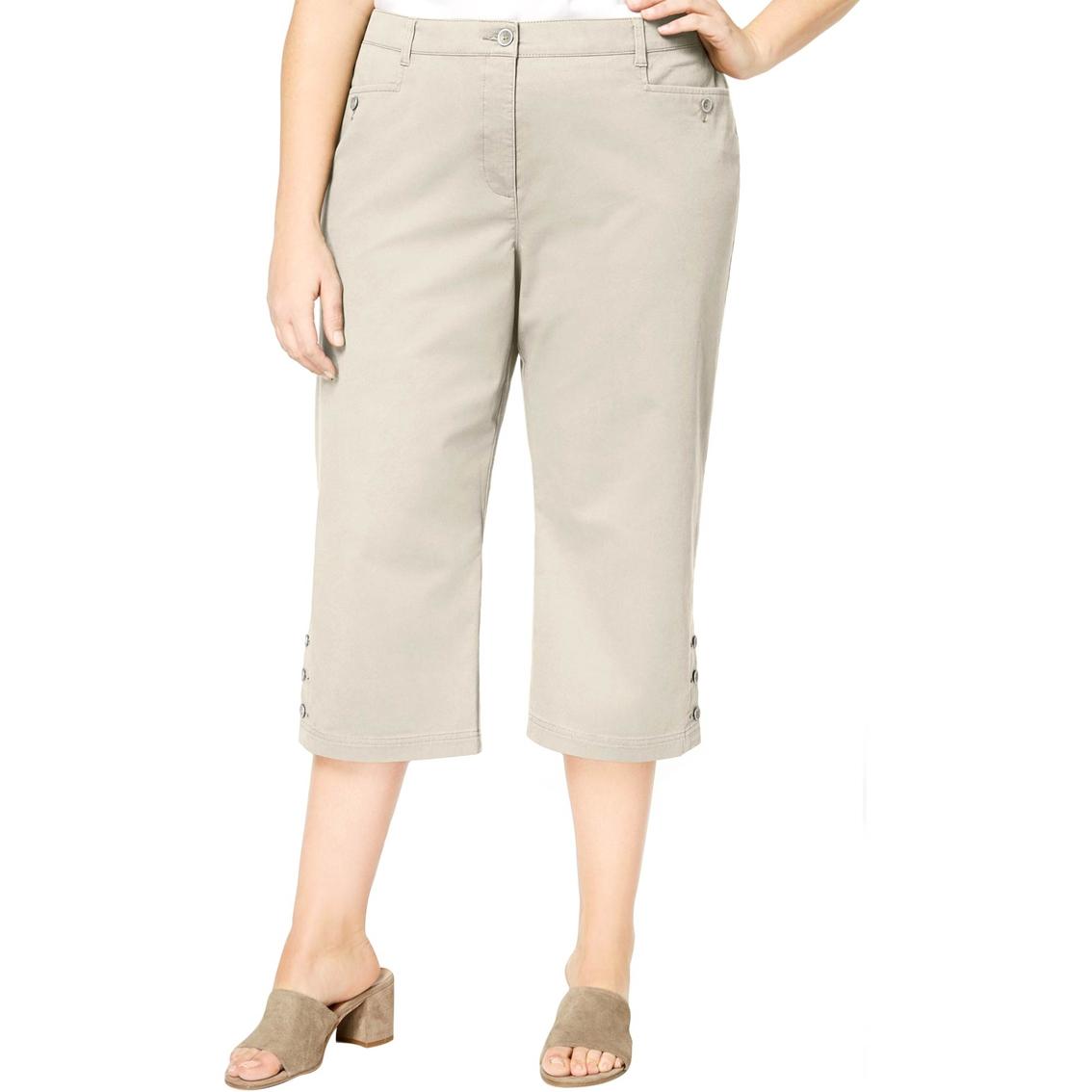 Karen Scott Plus Size Button Cuff Capri Pants | Pants ...