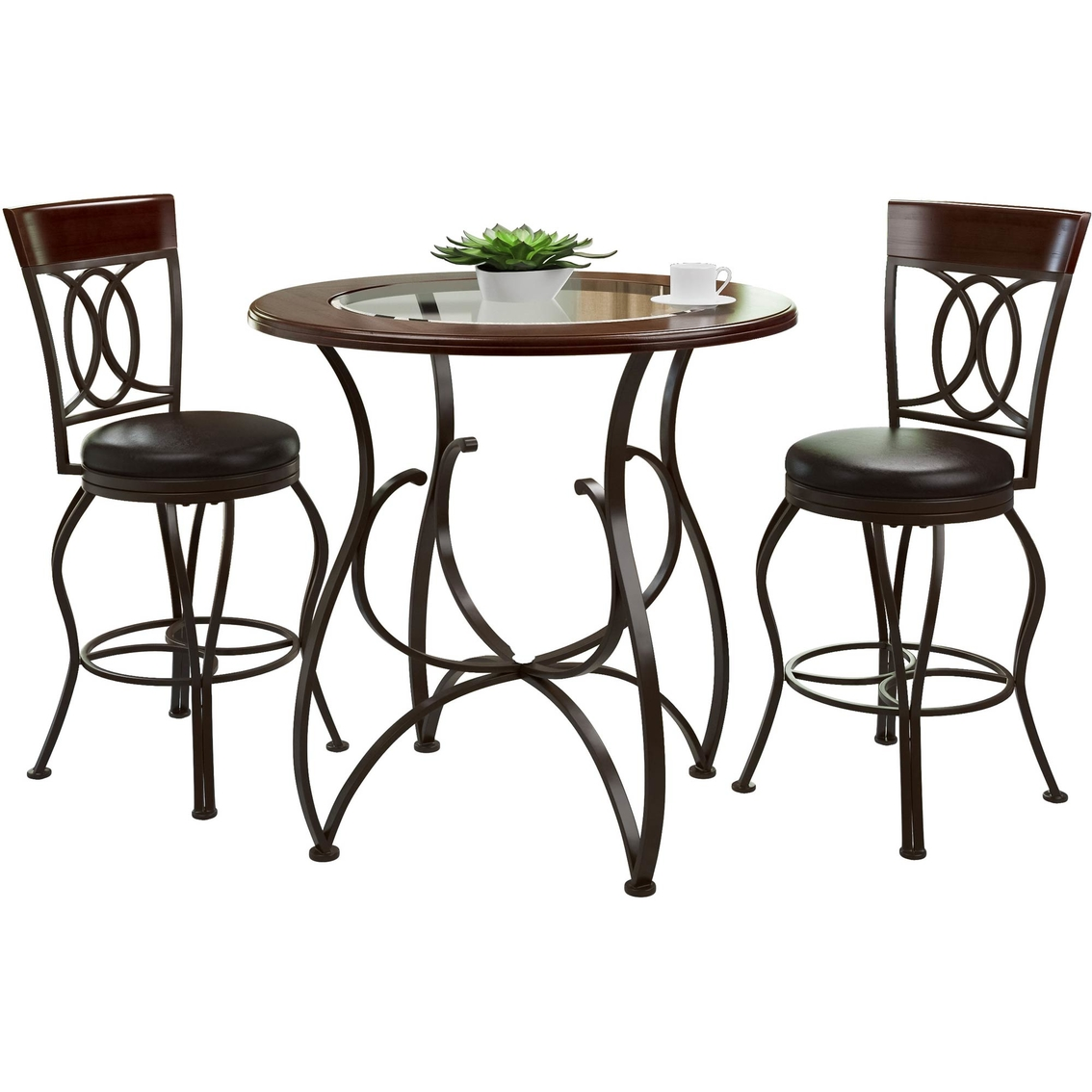 Counter Height Matte Brown Barstool And Bistro Table Set