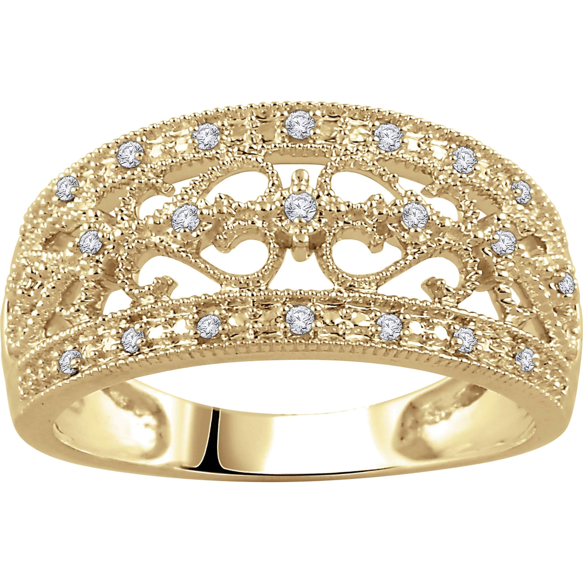 10k Yellow Gold 1 10 Ctw Tdw Diamond Anniversary Ring