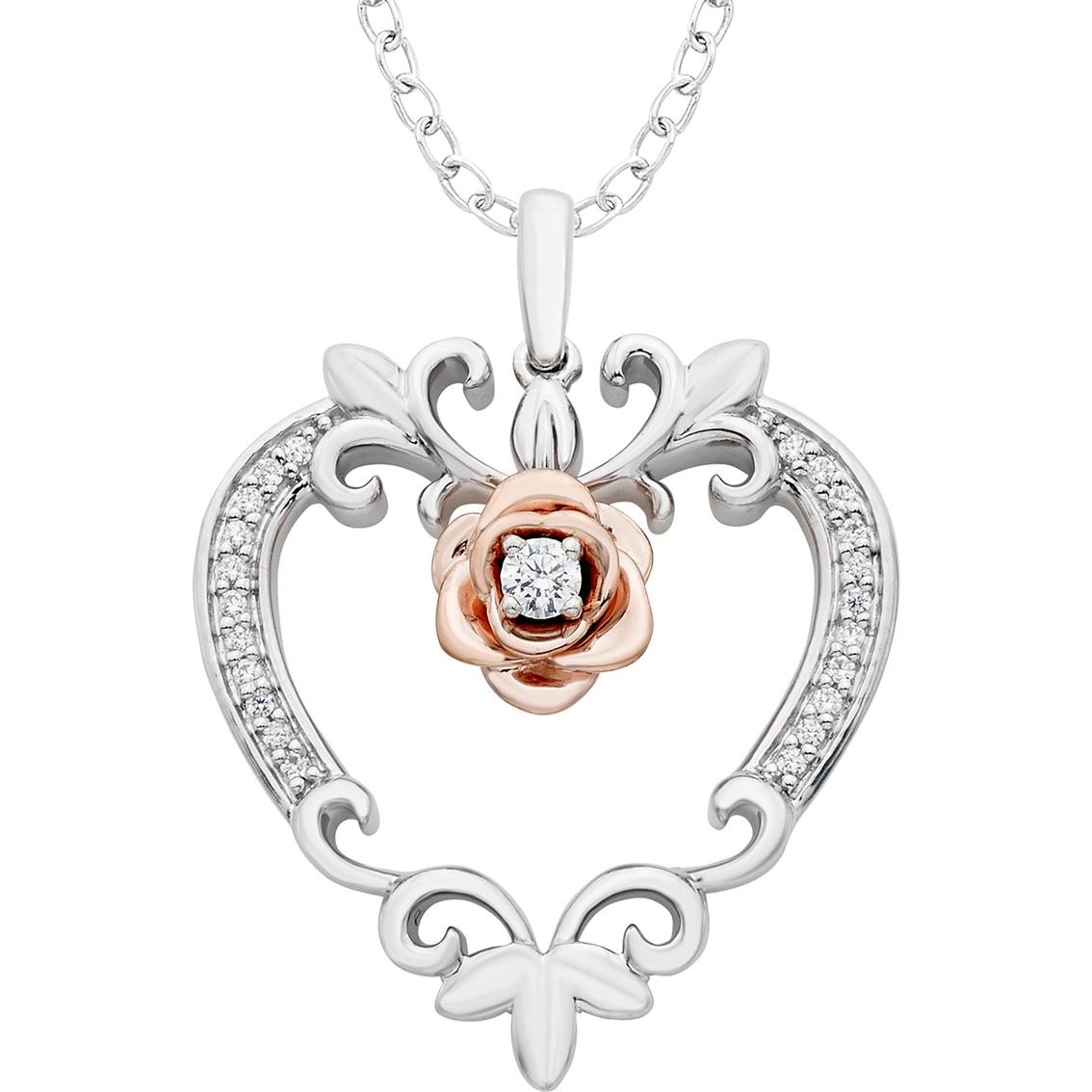 7d0a723a1298c Disney Enchanted Sterling Silver 1/10 Ctw Diamond Belle Rose Heart ...