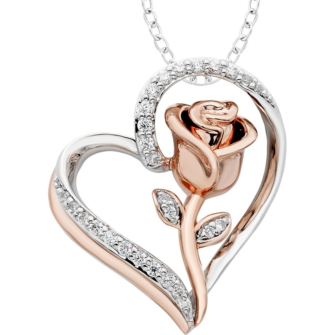 Disney Enchanted Sterling Silver 1 7 CTW Diamond Belle Rose Heart Pendant 154842d43