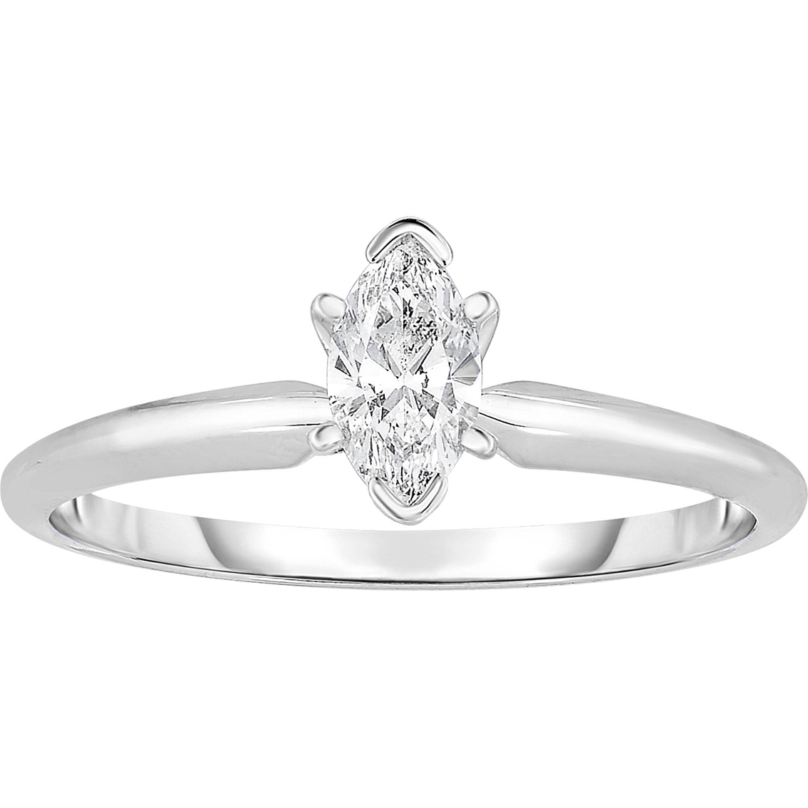 150f8acb7c 14k White Gold 1/2 Ct. Marquise Cut Diamond Solitaire Ring ...