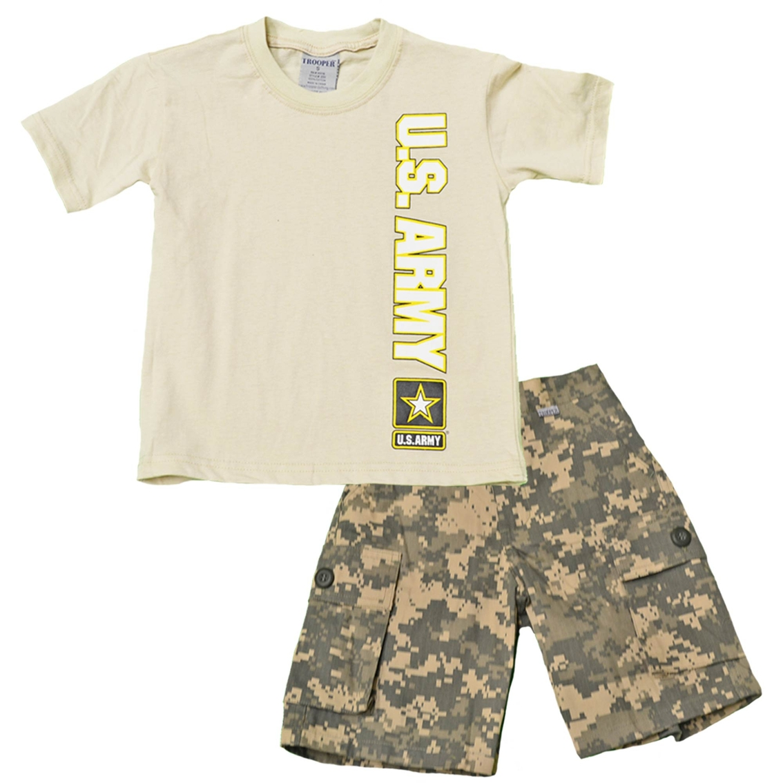 Trooper Clothing Little Boys Boys 2 Pc. Army Shirt and Camouflage Shorts Set 4e4d9d668084