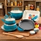 Pioneer Woman Dazzling Dahlias 17 pc. Cookware Combo Set Ocean Teal - Image 1 of 3