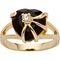 PalmBeach 14k Yellow Goldtone Heart Genuine Onyx Zirconia Accent Cocktail Ring - Image 1 of 3