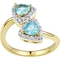 2 in Love Gold Plated Sterling Silver Swiss Blue Topaz And Lab White Sapphire Ring - Image 1 of 3